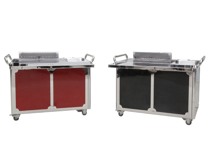 Smokeless Japanese Teppanyaki Grill Table Red and Black 1200*850*800mm