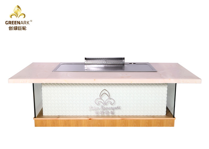 Pink Marble Decoration Rectangle Teppanyaki Grill Table 10 Seats Hibachi Table